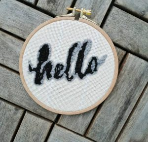 Hello in Punchneedle